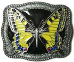 Butterfly (yellow) Belt Buckle + display stand. Code TN4